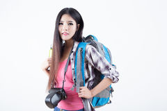 Όμορφος ταξιδιώτης γυναικών Στοκ εικόνες με δικαίωμα ελεύθερης χρήσης