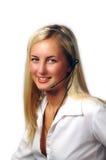 Όμορφος τηλεφωνικός ρεσεψιονίστ Στοκ φωτογραφία με δικαίωμα ελεύθερης χρήσης