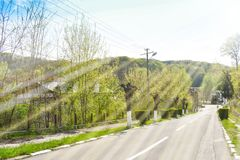Όμορφος τουριστικός προορισμός η balneary πόλη Baile Govora με την παλαιά αρχιτεκτονική και τα τρομερά πράσινα πάρκα - Ρουμανία,  στοκ εικόνες