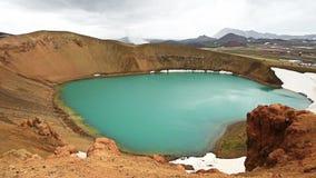 Όμορφος τυρκουάζ κρατήρας λιμνών χρώματος, που βρίσκεται στα βορειοανατολικά της Ισλανδίας, γεωθερμική περιοχή Krafla κοντά στη λ απόθεμα βίντεο
