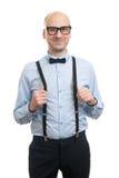 Όμορφος τύπος με suspenders και τον τόξο-δεσμό Στοκ Φωτογραφία