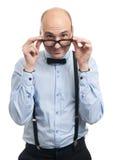 Όμορφος τύπος με suspenders και τον τόξο-δεσμό Στοκ Εικόνα