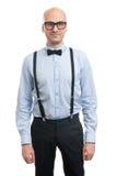 Όμορφος φαλακρός τύπος με suspenders και τον τόξο-δεσμό Στοκ φωτογραφία με δικαίωμα ελεύθερης χρήσης