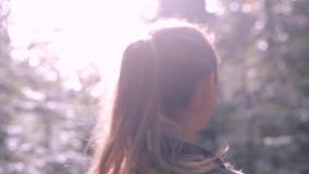 Όμορφος χαμογελώντας οδοιπόρος γυναικών που περπατά στο ίχνος στα ξύλ απόθεμα βίντεο