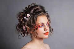 όμορφος χαριτωμένος hairstyle γάμος σχεδιαγράμματος πορτρέτου κλειδωμάτων πρότυπος Στοκ εικόνα με δικαίωμα ελεύθερης χρήσης