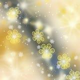 όμορφος χρυσός snowflakes ανασκόπ&eta Στοκ φωτογραφία με δικαίωμα ελεύθερης χρήσης