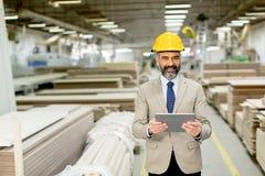 Όμορφος ώριμος μηχανικός στο εργοστάσιο Στοκ Φωτογραφία