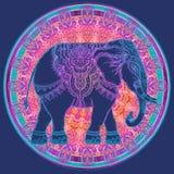 Όμορφος hand-drawn φυλετικός ελέφαντας ύφους πέρα από το mandala Colorfu διανυσματική απεικόνιση