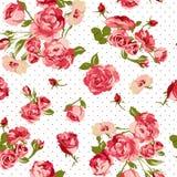 Όμορφο άνευ ραφής εκλεκτής ποιότητας υπόβαθρο με τα τριαντάφυλλα Στοκ φωτογραφία με δικαίωμα ελεύθερης χρήσης