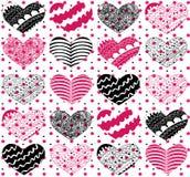 Όμορφο άνευ ραφής διανυσματικό σχέδιο με τις καρδιές Στοκ Εικόνες