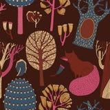 Όμορφο άνευ ραφής διανυσματικό floral σχέδιο με την αλεπού Απεικόνιση αποθεμάτων