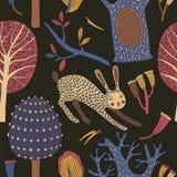 Όμορφο άνευ ραφής διανυσματικό floral σχέδιο με το κουνέλι Διανυσματική απεικόνιση