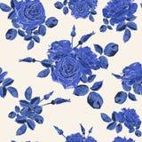 Όμορφο άνευ ραφής μπλε σχέδιο τριαντάφυλλων στο ελαφρύ υπόβαθρο Στοκ φωτογραφίες με δικαίωμα ελεύθερης χρήσης
