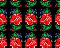 Όμορφο άνευ ραφής σχέδιο λουλουδιών φαντασίας κόκκινο και μπλε Στοκ εικόνα με δικαίωμα ελεύθερης χρήσης