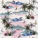 Όμορφο άνευ ραφής σχέδιο νησιών στο άσπρο υπόβαθρο Τοπίο απεικόνιση αποθεμάτων