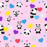 Όμορφο άνευ ραφής σχέδιο pandas σε ένα ρόδινο υπόβαθρο ελεύθερη απεικόνιση δικαιώματος