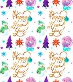 Όμορφο άνευ ραφής σχέδιο Watercolor Χριστουγέννων με τα ελάφια, το στεφάνι, snowflakes και το χιονάνθρωπο ελεύθερη απεικόνιση δικαιώματος