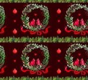 Όμορφο άνευ ραφής σχέδιο Watercolor Χριστουγέννων με το στεφάνι, τα πουλιά, τις κορδέλλες και τις σφαίρες απεικόνιση αποθεμάτων
