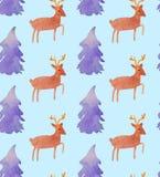 Όμορφο άνευ ραφής σχέδιο Watercolor Χριστουγέννων με Santa, τα ελάφια, τις κορδέλλες, τα κουδούνια και το δέντρο απεικόνιση αποθεμάτων