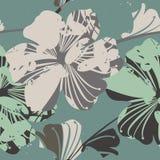 Όμορφο άνευ ραφής σχέδιο με τα αφηρημένα λουλούδια Στοκ Εικόνες