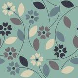 Όμορφο άνευ ραφής σχέδιο με τα ζωηρόχρωμα λουλούδια και τα φύλλα Στοκ Φωτογραφίες