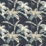 Όμορφο άνευ ραφής σχέδιο με τα λουλούδια και τα φύλλα κρίνων Στοκ Φωτογραφία