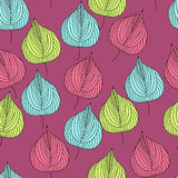 Όμορφο άνευ ραφής σχέδιο με τα φύλλα φθινοπώρου Στοκ Εικόνες