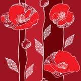 Όμορφο άνευ ραφής σχέδιο με τις κόκκινες παπαρούνες Στοκ φωτογραφία με δικαίωμα ελεύθερης χρήσης