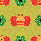 Όμορφο άνευ ραφής σχέδιο με τις μέλισσες και τα διαφορετικά λουλούδια Στοκ φωτογραφία με δικαίωμα ελεύθερης χρήσης