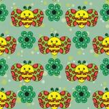 Όμορφο άνευ ραφής σχέδιο με τις μέλισσες και τα πράσινα λουλούδια Στοκ Φωτογραφία