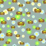 Όμορφο άνευ ραφής σχέδιο με τις μέλισσες, λουλούδια Στοκ Εικόνα