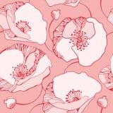 Όμορφο άνευ ραφής σχέδιο με τις ρόδινες παπαρούνες Στοκ φωτογραφίες με δικαίωμα ελεύθερης χρήσης