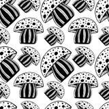Όμορφο άνευ ραφής σχέδιο με το μονοχρωματικό εκλεκτής ποιότητας hand-drawn μανιτάρι Φωτεινή psychedelic amanita μωσαϊκών γραφική  Στοκ Εικόνα