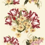 Όμορφο άνευ ραφής σχέδιο ταπετσαριών με τα λουλούδια τουλιπών Στοκ Εικόνα