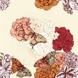 Όμορφο άνευ ραφής σχέδιο ταπετσαριών με τα λουλούδια Στοκ Εικόνα