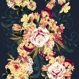 Όμορφο άνευ ραφής σχέδιο ταπετσαριών με τα ροδαλά λουλούδια Στοκ φωτογραφίες με δικαίωμα ελεύθερης χρήσης