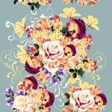 Όμορφο άνευ ραφής σχέδιο ταπετσαριών με τα ροδαλά λουλούδια Στοκ Φωτογραφία