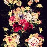 Όμορφο άνευ ραφής σχέδιο ταπετσαριών με τα ροδαλά λουλούδια Στοκ φωτογραφία με δικαίωμα ελεύθερης χρήσης