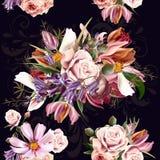 Όμορφο άνευ ραφής σχέδιο ταπετσαριών με τα ροδαλά λουλούδια Στοκ Εικόνα