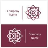 Όμορφο άσπρο γραμμικό κυκλικό λογότυπο Logotype για τη μπουτίκ καλειδοσκόπιο Στοκ εικόνα με δικαίωμα ελεύθερης χρήσης