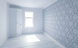 Όμορφο άσπρο και φωτεινό δωμάτιο με την ελαφριά διάβαση ήλιων μέσω, διακοσμημένος με την ταπετσαρία διανυσματική απεικόνιση