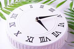 Όμορφο άσπρο ρολόι με τα φύλλα του τροπικού φοίνικα Η έννοια του χρόνου εικόνες διακοσμήσεων διακοπών στοκ εικόνα με δικαίωμα ελεύθερης χρήσης