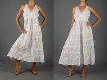 Όμορφο άσπρο φόρεμα με την ασιατική διακόσμηση Στοκ φωτογραφία με δικαίωμα ελεύθερης χρήσης