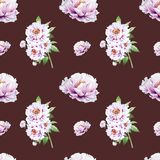 Όμορφο άσπρο peony άνευ ραφής σχέδιο r Floral σύσταση Σχέδιο δεικτών ελεύθερη απεικόνιση δικαιώματος