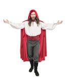 Όμορφο άτομο κοστούμι πειρατών και επενδύτης που απομονώνεται στο ιστορικό Στοκ φωτογραφίες με δικαίωμα ελεύθερης χρήσης