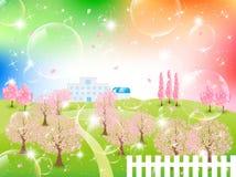 Όμορφο δέντρο κερασιών διανυσματική απεικόνιση