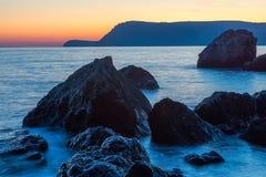 Όμορφο ήρεμο ηλιοβασίλεμα, στη Μαύρη Θάλασσα στοκ φωτογραφίες με δικαίωμα ελεύθερης χρήσης
