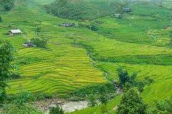Όμορφο αγροτικό τοπίο των πεζουλιών, του ποταμού και του χωριού ρυζιού ho στοκ φωτογραφίες με δικαίωμα ελεύθερης χρήσης