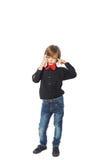 Όμορφο αγόρι με το τηλέφωνο Στοκ Εικόνα