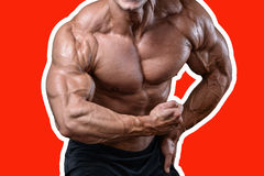 Όμορφο αθλητικό άτομο δύναμης στη διατροφή που εκπαιδεύει αντλώντας επάνω τους μυς Στοκ φωτογραφίες με δικαίωμα ελεύθερης χρήσης